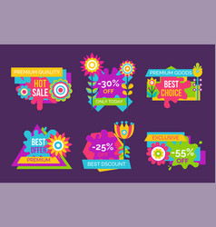 hot sale premium quality promo labels set flowers vector image