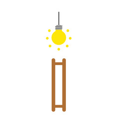 icon concept of glowing light bulb and ladder vector image