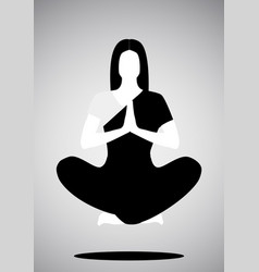 icon of girl doing yoga or meditation floating vector image