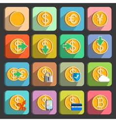 Icons set for electronic payments and transactions vector