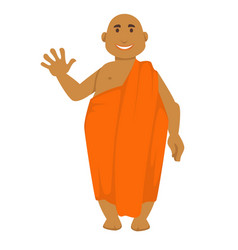 indian monk in orange robe bald man waving hand vector image