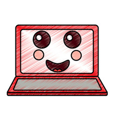 Kawaii cute funny screen monitor vector