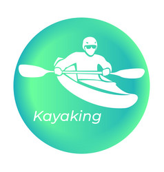 Kayaking icon in vector