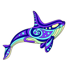 Killer whale - linear color vector