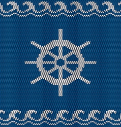 Knitted seamless pattern with sea wheel vector image