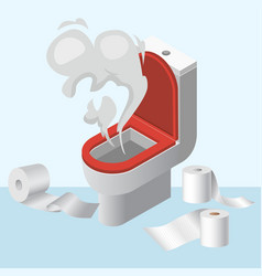 Lavatory pan wc littering with toilet paper vector