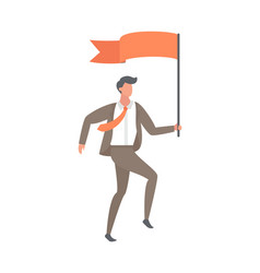 leader with red flag cartoon style isolated vector image