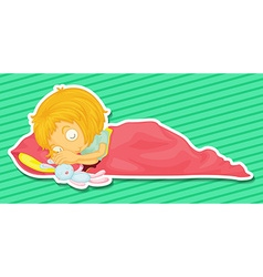Little kid sleepin with a rabbit doll vector