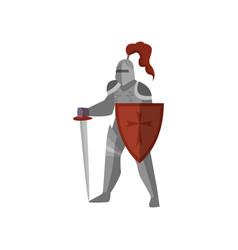 medieval knight with long sword and red cross vector image