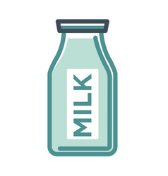 milk glass bottle with label isolated on white vector image