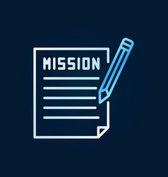mission document with pencil colored line vector image