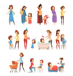 Motherhood retro cartoon icons set vector