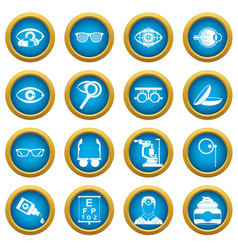 Ophthalmologist tools icons blue circle set vector