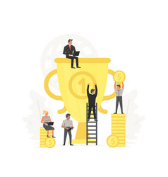 people are happy to big gold trophy concept of vector image