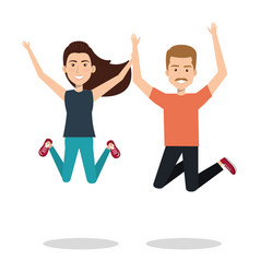 people celebrating with a leap vector image