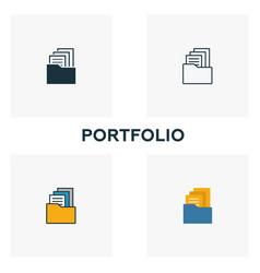 portfolio icon set four elements in diferent vector image