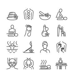 Relaxing massage and organic spa line pictograms vector