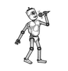 robot singer vocalist sketch engraving vector image
