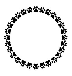 round frame made paw prints vector image