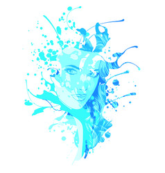sad girl with blue hair on vector image