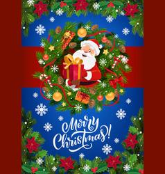 santa claus christmas gifts in xmas wreath frame vector image