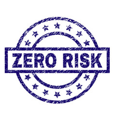 Scratched textured zero risk stamp seal vector