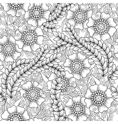 Seamless floral doodle black and white background vector image