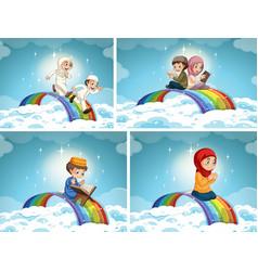 Set muslim couple kid on rainbow in sky vector