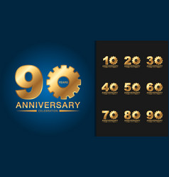 set of anniversary logotype golden anniversary vector image