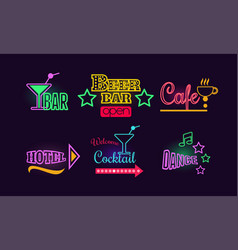 set of glowing neon signs for beer and cocktail vector image