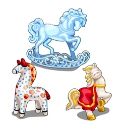 Set of ice ceramic and clay toy horse isolated vector