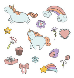 set of unicorn vector image