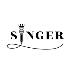 Singer word design with microphone vector