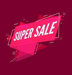 super sale banner flat style sale ribbon banner vector image