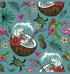 surfing vintage colorful seamless pattern vector image
