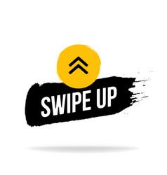swipe up icon emblem logo in brush stroke style vector image