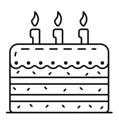 tasty birthday cake icon outline style vector image