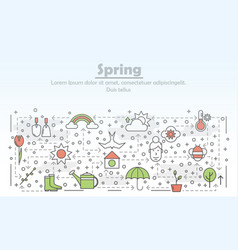 thin line art spring poster banner template vector image