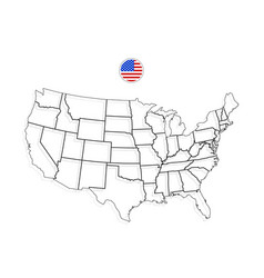 united states of america map usa black vector image