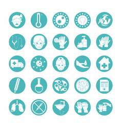 Virus covid 19 pandemic respiratory illness icons vector
