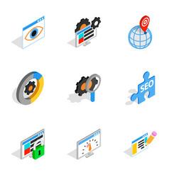 web marketing icons isometric 3d style vector image