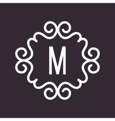 White Vintage Twirl Frame for M Letter vector image