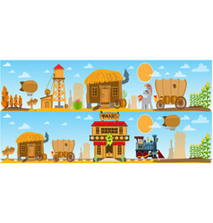 Wild west and american indian game background vector