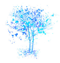 Winter watercolor tree blue trees with splashes vector