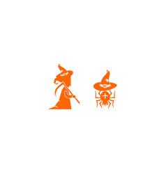 witch and spider halloween set template vector image
