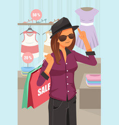 woman shopping inside the clothing store vector image