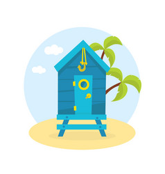 wooden bungalow on tropical coast sea seaside vector image