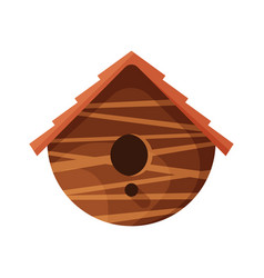 wooden handmade bird house isolated on white vector image