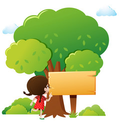 Wooden sign template with girl and tree vector