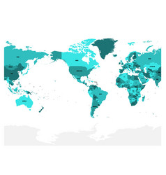 world map in four shades of turquoise blue on vector image